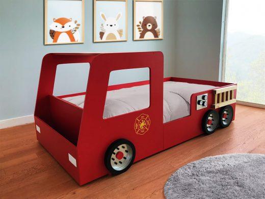 cama infantil de bomberos